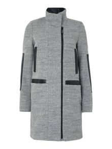 Wool coat with pu trim