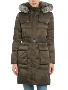 Down coat with belt and fur hood