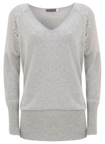 Lace & Sheer Detail Cashmere Mix Knit