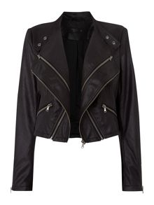Suedette waterfall zip jacket