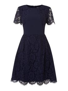 Rose Lace Full Skirted Dress Crepe