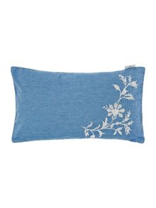 Denim applique cushion