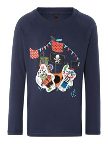 Boys pirate removable sticker long sleeve t-shirt