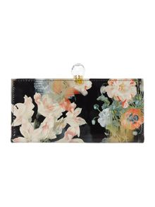 Black floral bloom print flapover purse