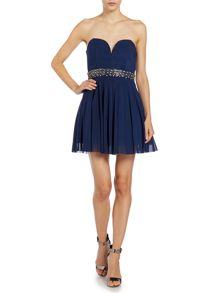 Strapless embellished waist fit and flare dress