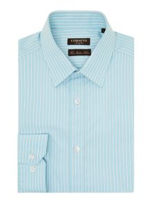 Corsivo Elpedio End on End Stripe Italian Cotton Shirt
