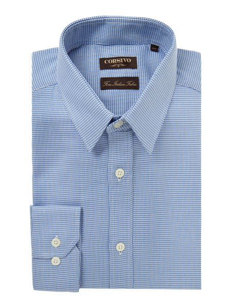 Corsivo Savia Puppytooth Italian Cotton Shirt
