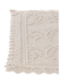 Crochet frill off white bathmat