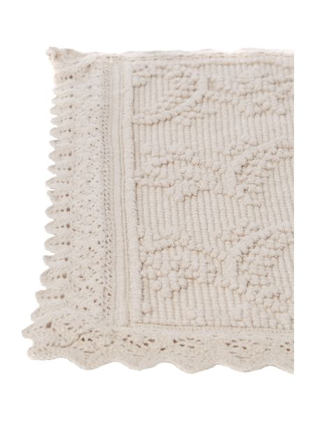 Shabby Chic Crochet Frill Bath Mat in Off-White