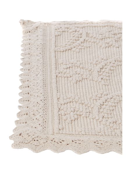 shabby chic crochet frill bath mat in off white house of