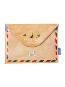 Airmail tan travel wallet