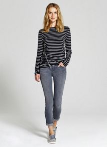 Navy & Grey Striped Zip Detail T-shirt