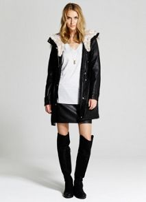 Faux Fur Quilt Lined Waxed Parka