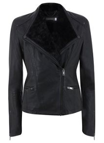 Faux Fur Collar Leather Biker Jacket