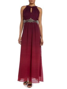 Ombre embellished waist maxi dress