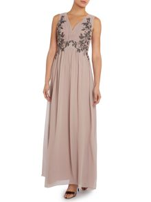 Sleeveless v neck embellished maxi dress