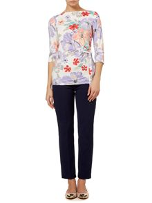 Floral jersey side tie top