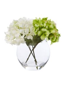 Green and white hydrangea arrangement