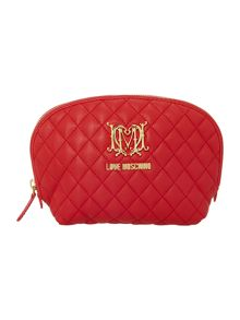 Red large quilt cosmetics bag