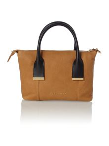 Tan metal bar mint tote bag