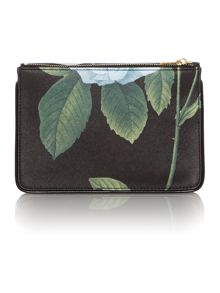 Black small floral print cross hatch cross body