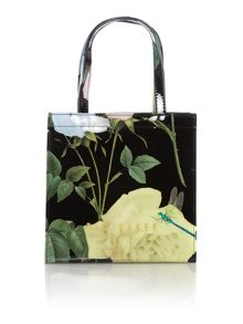 Black floral print bowcon small tote bag
