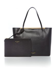 Black large saffiano leather tote bag