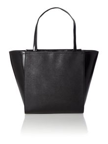 Black large cross hatch tote bag