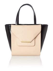 Taupe large cross hatch tote bag