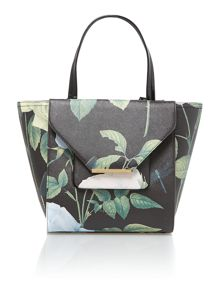 Black large rose print saffiano tote bag
