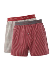 2 pack check and stripe woven boxer