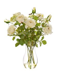 Shabby Chic English garden roses arrangement, white