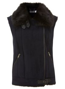 Navy Mixed Faux Fur Gilet