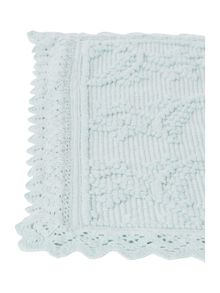 Shabby Chic Crochet Frill Bath Mat in Duck Egg