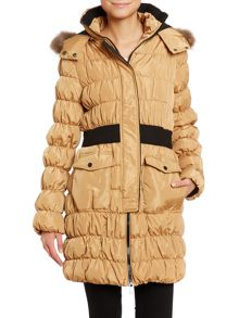 Long sleeve faux fur hood coat