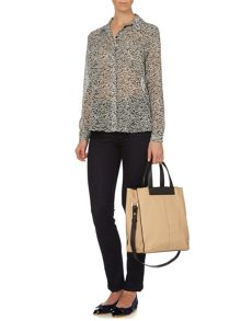 Cowl-Back Snake Print Soft Shirt