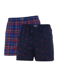 2 pack check and print woven boxer.