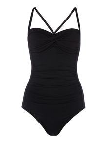 Goddess twist halter maillot swimsuit