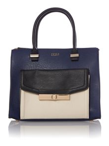 Navy colour black tote bag