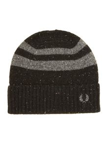 Tipped stripe beanie hat
