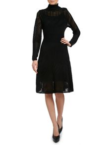 Long sleeved turtle neck knitted dress