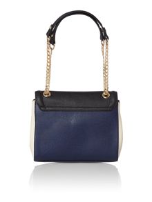 Navy colour block flapover shoulder bag