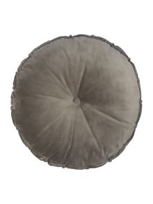 Shabby Chic Round velvet cushion, grey