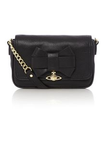 Bow black flap over cross body bag