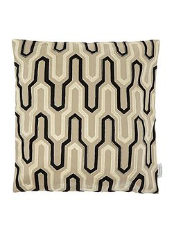 Geometric embroidered, black and taupe