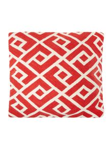 Crewel stitch red cushion