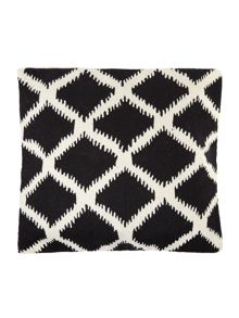 Crewel stitch cushion, black and white