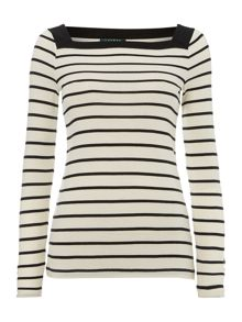 Long sleeved striped boatneck t-shirt