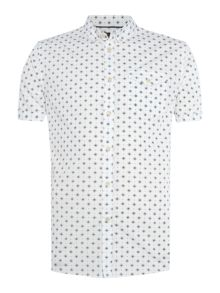 Linea Chambers floral tile geo print short sleeve shirt