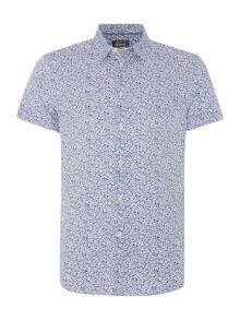 Linea Hubbard Floral Outline Print Short Sleeve Shirt